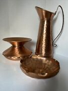 Vintage Gregorian Solid Copper Pitcher Spittoon And Dish Hammered Pattern Made Usa