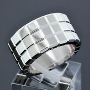 Chopard 18k White Gold Ice Cube Square 3-row Wide Band Ring Size 6