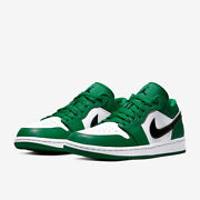 Nike Air Jordan 1 Low Pine Green White Youths 553560-301 And Mens 553558-301