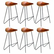 Cafe 2/4/6pcs Real Leather Bar Chair Stool Iron Frame Restaurant Dining Room