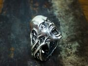 Human Face-insect-scorpio Scream Biker Giothic 14k Gold Halloween Menand039s Ring