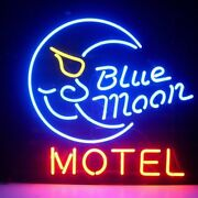 New Blue Moon Motel Lamp Neon Light Sign 24x20 Beer Cave Decor Glass