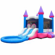 Pogo Pink Wet Bounce House Blow Up Water Slide Pool Inflatable Combo With Blower
