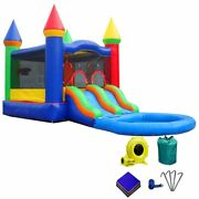 Rainbow Wet Bounce House Combo Blow Up Water Slide Pool Inflatable With Blower