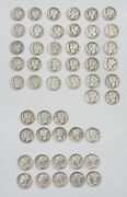 50 Mercury Dimes Some Are Fine To Very Fine All Circulated 1945-1926