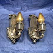 Pair Of Rare Arts And Crafts Andldquoempireandrdquo Wall Sconces Rewired Fixtures 114a