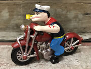 Popeye The Sailor Man On Red Motorcycle Wheels Move Cast Iron Toy