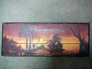 Vintage Signed Oil Painting Village Palm Tree,chinese Junk Ship Oil Canvas Nice