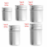 10 Aluminum Round Cans W/screw Lid Metal Storage Tins Containers Box Case Jars