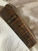 Antique Leather Bound Holy Bible 1859 Old And New Testament Pre- Civil War