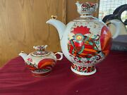 Red Rooster Set Of 2 Teapots Russian Imperial Lomonosov Porcelain 8.5 And 61 Fl Oz