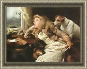 Old Master-art Antique Oil Painting Portrait Girl Dog On Canvas 30x40