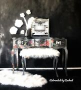 Silver Vintage French Provincial Makeup Vanity Station With Fliptop Mirror