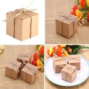 50pcs Diy Vintage Kraft Paper Gift Box Cake Candy Package Party Supply Boxes