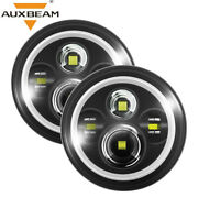 Auxbeam T Pair 7 Inch Led Headlights Angle Eye H4 For Am General Hummer 92-01