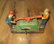 Vintage Tom And Dick Rail Road Hand Car Wind Up Tin Toy Exelo Train Parts Repair