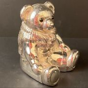 Vintage Silver Plated Bear Coin Bank Paperweight Collectible
