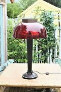 Vintage Arts And Crafts Lamp With Large Ruby Red Glass Lamp Shade Globe-nice