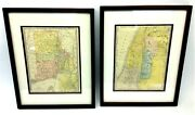 Two Antique 1903 Rand Mcnally Co New York Block Island Sound Framed Matted Maps