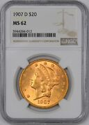 1907-d Liberty Gold Double Eagle Better Date 20 - Ngc Ms62 -
