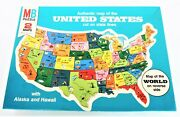 1975 Milton Bradley Authentic Map Of The United States Puzzle 4806 And World Map