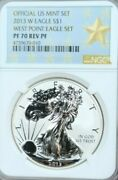 2013 W Silver Eagle 1 Dollar S1 West Point Eagle Set Ngc Pf 70 Reverse Proof
