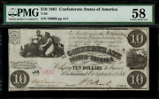 T-28 10 1861 Confederate Currency Csa - Graded Pmg 58