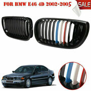 2x Front Kidney Grilles Grill Gloss Black For Bmw E46 325xi 330i Sedan 2001-05