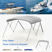 3 Bow Bimini Top Boat Cover 6ft With Rear Poles And Storage Boot Gray Waterproof