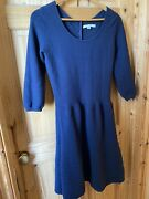 Boden Navy Blue Knit Fit And Flare Knee Length 3/4 Sleeve Work Casual Dress 14