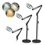 Magnifying Floor Lamp 8-diopter 5x Real Glass Lens 3 Color Modes Led