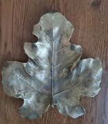 Large 10 Virginia Metalcrafters Vmc 1948 Brass Fig Leaf Tray 4-13