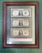 Paper Money Usa 3 One Dollar Silver Certificates, Blue/yellow/brown