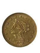 Gold Coins Us 1872-s 2 1/2 Dollar Gold Liberty Anacs Au53