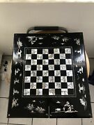 Vintageasian Chess And Backgammon Board. Black Lacquer Finish With In Laid Pearl
