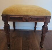 Foot Rest Wood Footstool Ottoman Antique Vintage Wood Lion Head Free Shipping