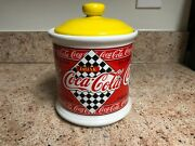 Vintage Coca-cola Cookie Jar Red And Yellow 1995 Excellent Condition