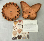 Vtg Martha By Mail Papillon And Sunflower Copper Cookie Cutter Set Giant Butterfly