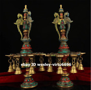 Palace Copper Hand-painted Inlay Gem Phoenix Candlestick Candler Pricket Pair