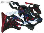 Fairing Red Flames Black Injection Plastic Fit For 2001-2003 Cbr 600 F4i Ia4