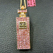 Betsey Johnson Sparkling Pink Crystal Perfume Bottle Pendant Chain Necklace
