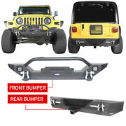 For 1997-2006 Jeep Wrangler Tj Black Front And Rear Bumper W/ Led Lights And D-rings