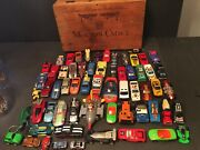 62 Antique Vintage Wooden Box Full Mattel Diecast Cars From 1977 And Up Dupon 1997