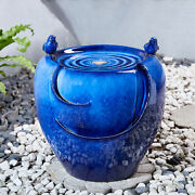 Glitzhome 19h Blue Birds Embossed Ceramic Pot Water Fountain Led Light Outdoor