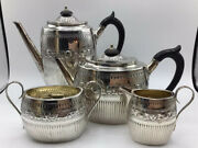 Rare 1881 English Tea/coffee Set - Face And Gadroon Edw Hutton Sterling - London