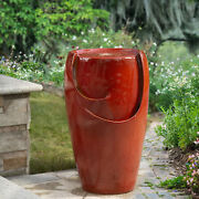 Glitzhome 21h Outdoor Red Ceramic Pot Water Fountain Led Light Pump Waterfall