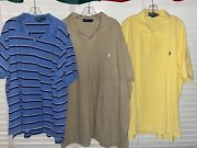 Polo Big And Tall Lot Of 3 Short Sleeve Stripe Solid Shirts 3xb 3xlt