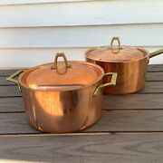 2 Vintage Paul Revere Copper And Stainless Steel Pots And Lids Brass Limited Edition