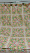 Vintage Fieldcrest Shower Curtain-two Panels-blocks Of Florals-pink And Green