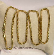 18k Solid Yellow Gold Italian Franco Chain/ Necklace. 24 Inches. 26.32 Grams